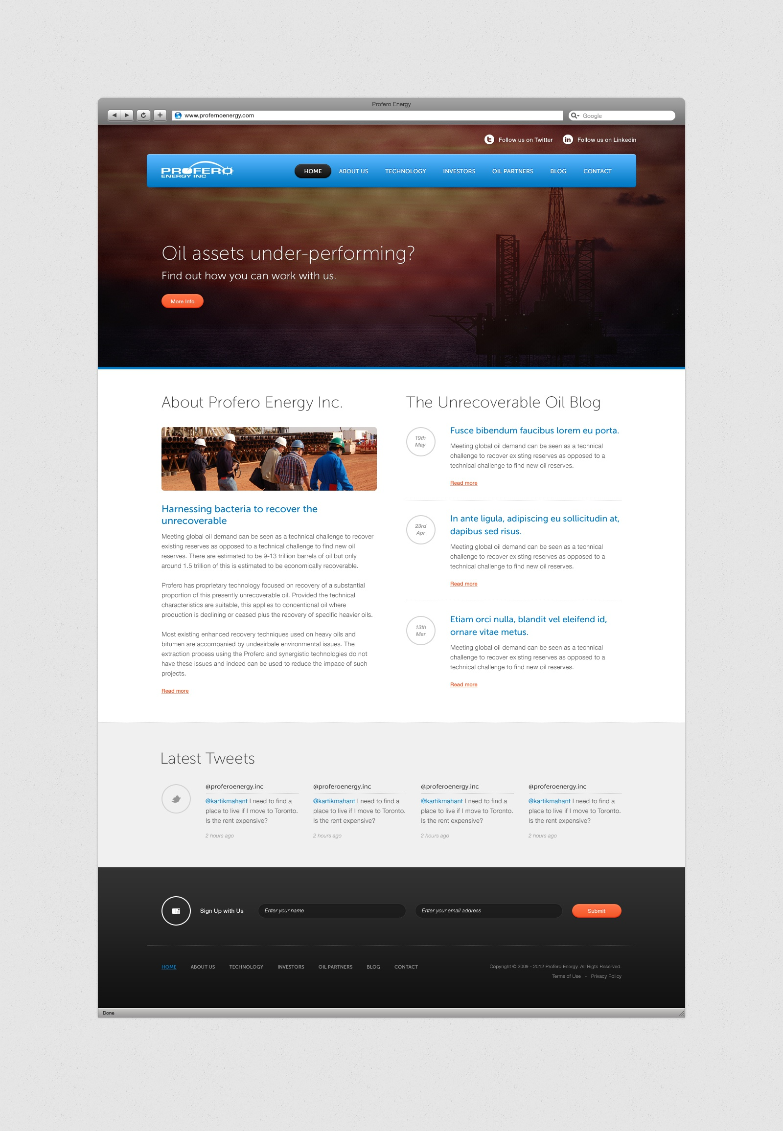 Profero home page