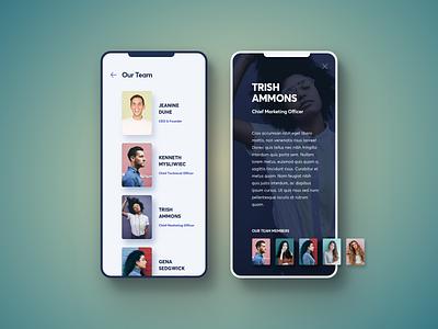 Our Team Mobile Version design clean team application modern app ux ui