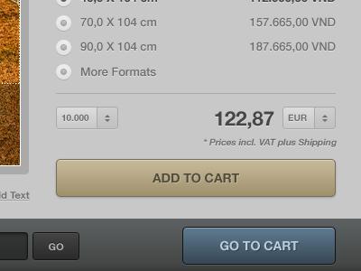Shopping Cart ui ux wordpress pop-up popups dark grey black golden cart drop down radio button coupon