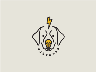 Voltalab  yellow lightbulb wip logo dog lightning labrador