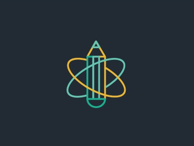 Planet graphic design wip rocket logo space pencil orbit