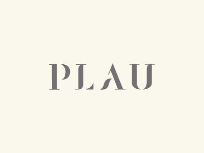 PLAU logotype custom serif type logo