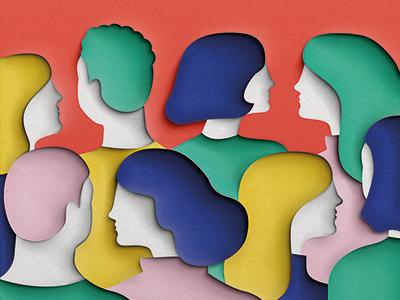 Paper people profiles hair people paper