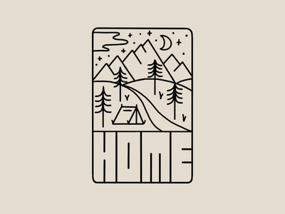 Home camping backpacking logo typography type hand-lettering lettering illustration outdoor mountains