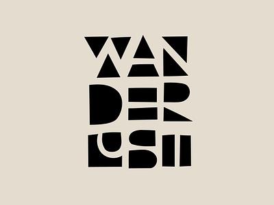 Wanderlust vector illustration drawing logo typography type hand-lettering lettering wanderlust