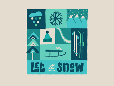Let it snow (blue) ipadpro winter snow procreate letters drawing typography lettering illustration