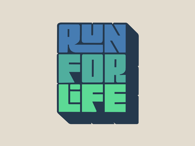 Run For Life ipadpro procreate hand lettering illustration letters logo typography type hand-lettering lettering green blue run running
