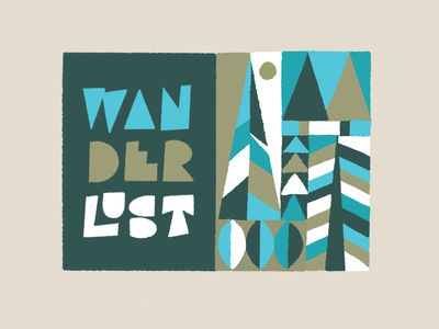 Wanderlust - retro - colored style ipadpro procreate hand lettering illustration drawing letters typography type hand-lettering lettering