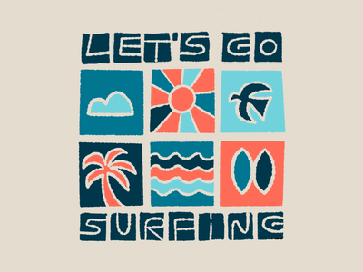 Let's go surfing ipadpro procreate illustration drawing logo type hand-lettering lettering