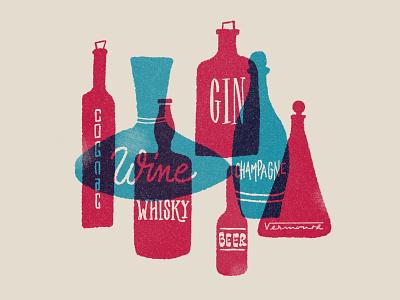 Alcoohol overlap grain textures procreate ipadpro lettering illustration riso screenprinting mid-century alcoohol bottles