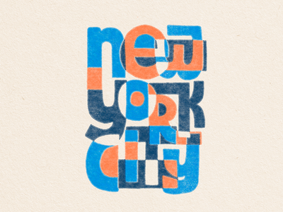 NYC screen printed style colours photoshop screenprinting modern nyc lettering