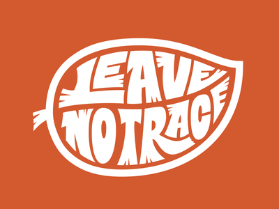 Leave no trace calligram leaves orange typography type hand-lettering lettering