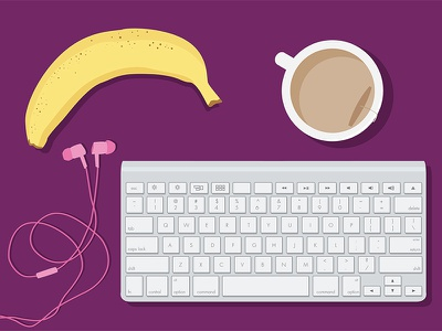 Designer Survival Kit headphones tea banana illustrator keyboard cartoon illustration