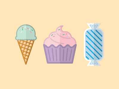 Sweet Treats cartoon illustrator candy stickers icons