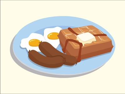 Belgian Waffle waffle illustrator breakfast cartoon illustration