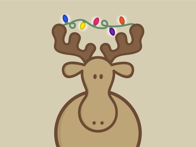 Moose icon sticker cartoon illustration christmas moose
