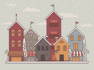 Winter Rebound icon illustrator winter houses cartoon rebound