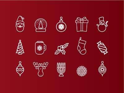 Christmas Icons - Minimal Version icon design icons illustration sticker stickers