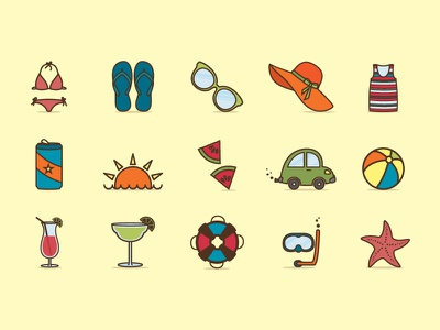 Summer Icon Set icon design cartoon illustration