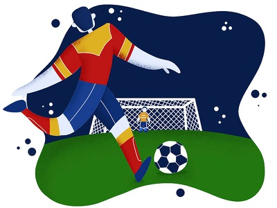World Cup Time run player world cup cartoon procreate illustration soccer
