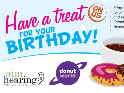 Aim Hearing Treat Card fun colorful print collateral treats doughnuts typography playful layout