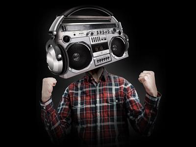 Too Much Noise Image speaker head headphones boom box noise photoshop