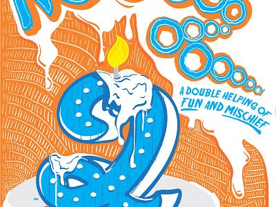 Birthday Poster Illustration drips candles detail custom typography cake illustration poster birthday