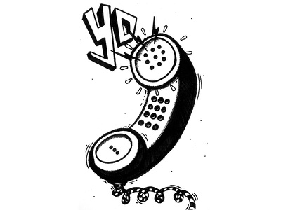 Inktober Day 3 / Collect phone calls ink me bro illustration yo collect