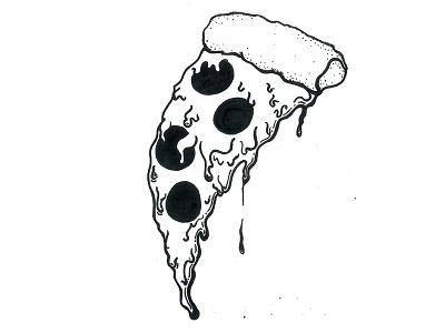 Inktober Day 4 / Hungry ink illustration drippy pizza inktober 2016 inktober hungry