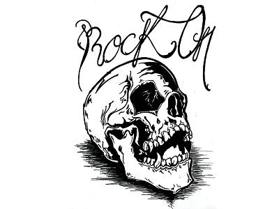 Inktober Day 8 / Rock metal inktober2016 inktober skulls rock