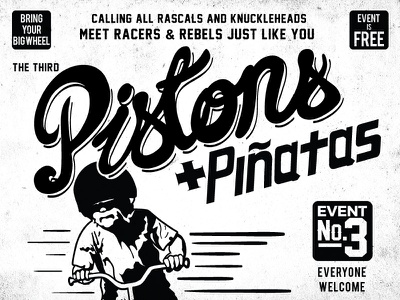 Pistons And Piñatas Poster Detail black and white design poster lettering illustration party kians birthday birthday poster