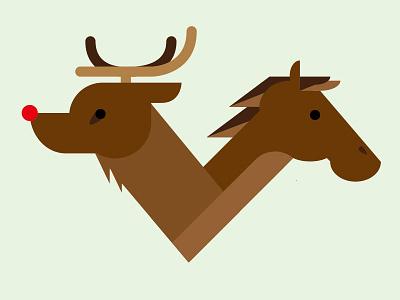 Christmas Card 2014 illustration horse reindeer card christmas