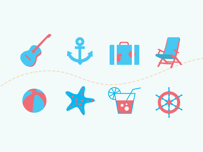 Icons for Travel Agency travel icon flat blue red guitar anchor bag chaise-longue ball starfish cocktail wheel