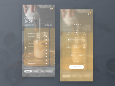 The Coffee Shop drink clean design dribbble design ux ui iphone x ios app uiux sketch