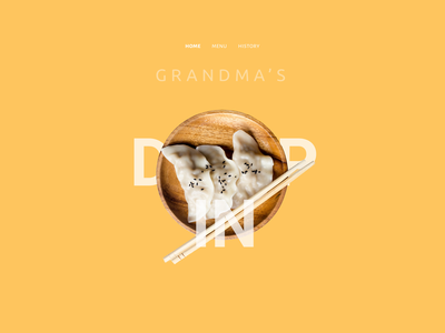 Grandma's Dumpling Hero Section Animated restaurant food animation hero section landing page sketch dribbble uiux