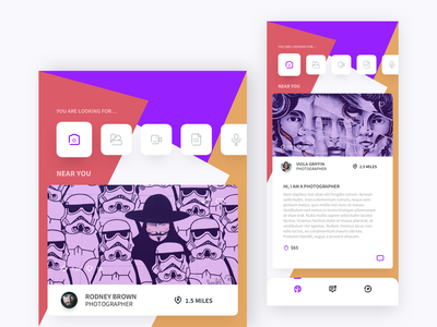 Creatives For Hire II clean design ux ui dribbble design iphone x ios app uiux sketch