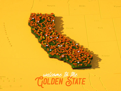 Welcome to the Golden State photoshop illustration after effects 2d animation animation c4d cinema 4d 3d motion graphics motion design