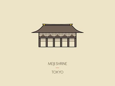 Meiji Shrine, Tokyo illustration travel tokyo temple shrine japan icon