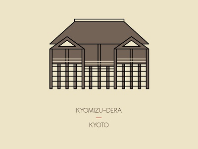 Kyomizu-dera, Kyoto illustration heritage travel temple shrine kyoto japan icon