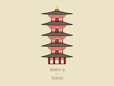 Senso-ji, Tokyo illustration icon temple senso-ji shrine tokyo japan travel asakusa