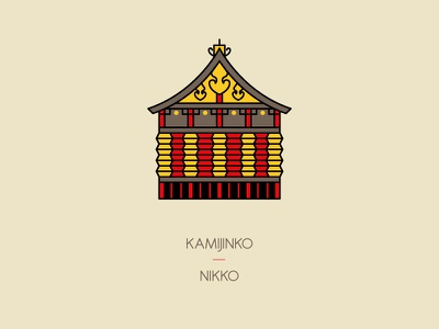 Kamijinko, Nikko heritage travel tokyo temple shrine kamijinko tōshō-gū nikko japan illustration icon