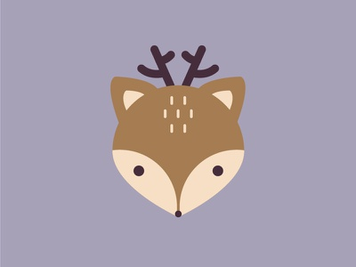 Little deer illustration icon head deer design animal