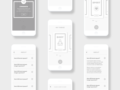 AR Wireframes - Thrive Up Daily Cards app ar ios interface flow ux app wireframe