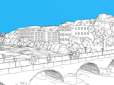 Stone Bridge (Regensburg) 3d sketch illustration black-white