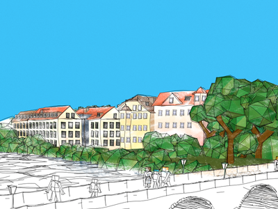 [Web] Colored Stone Bridge (Regensburg) 3d illustration sketch web