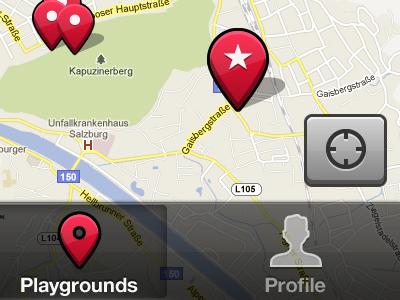 Playgrounds Map map tabbar transparent red black