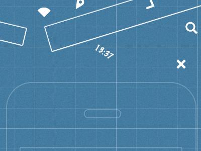Solution Screen blueprint mock-up shapes blue kupferwerk redesign