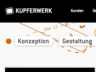 Kupferwerk Web web navigation mockup