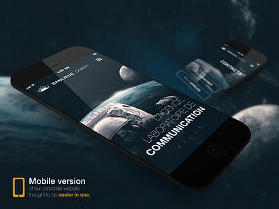Mobile version of BO website mobile responsive website banlieue ouest space blue dark