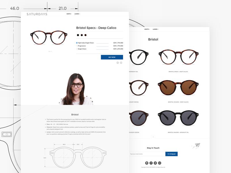 SATURDAYS eyewear website glass frame ecommerce ux ui